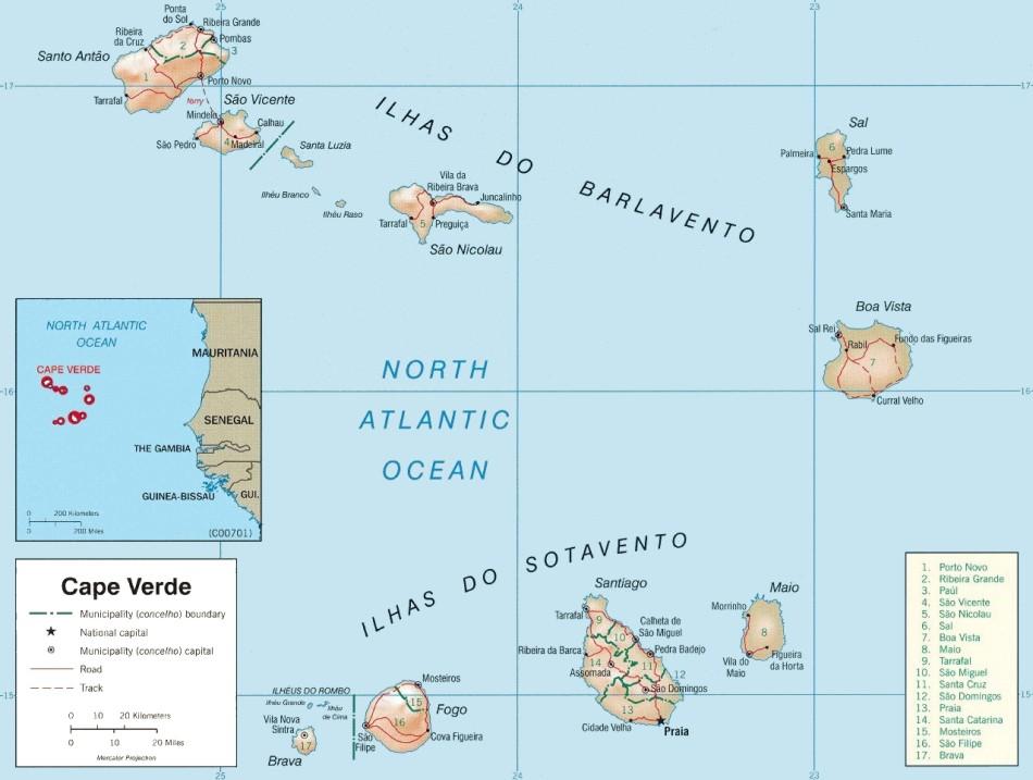 Cape Verde islands maps