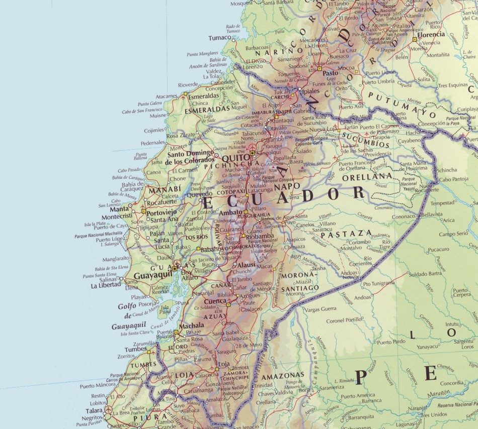 Online Maps Ecuador Physical Map - Physical map of ecuador
