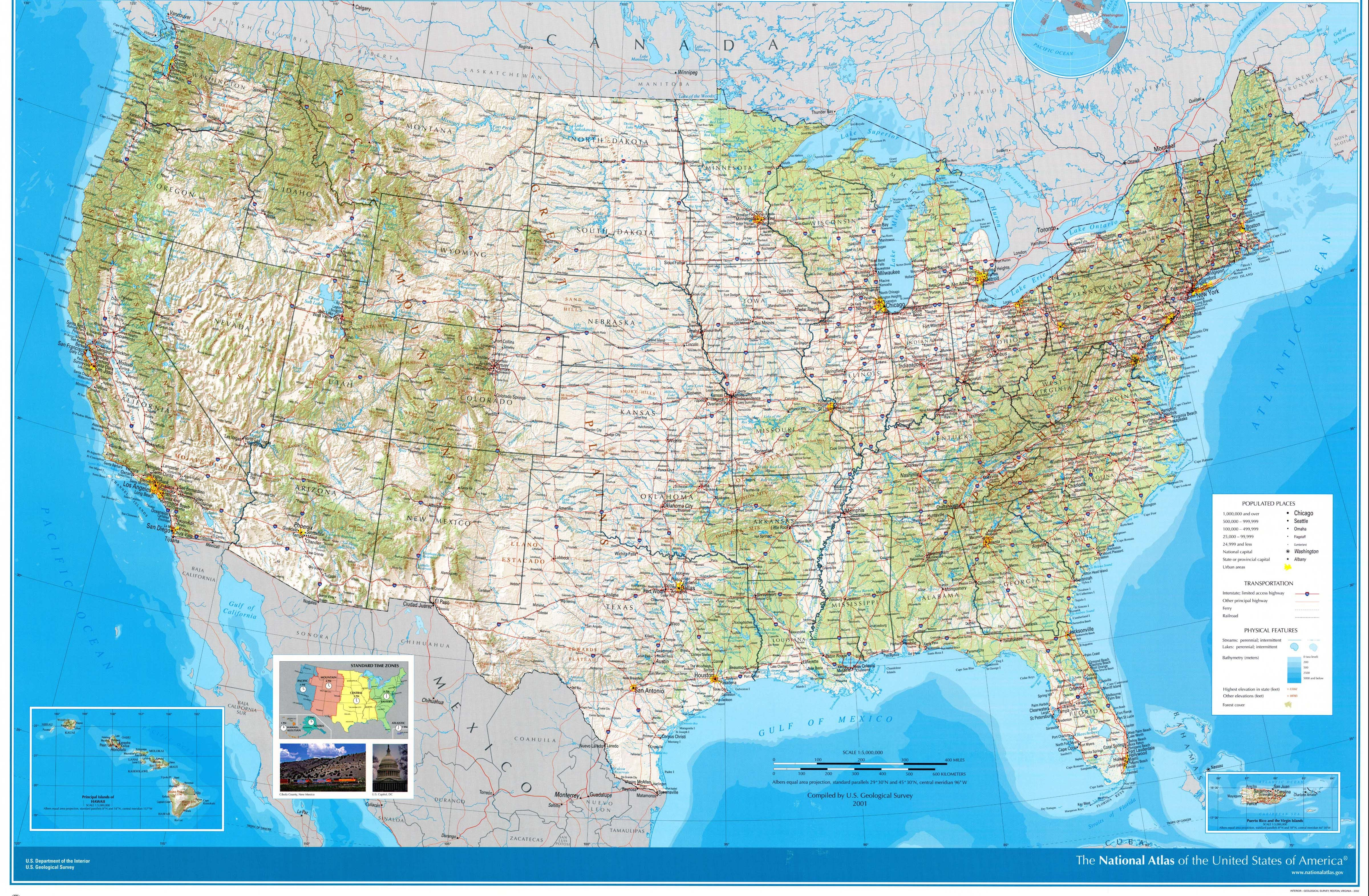 USA large scale topographical map