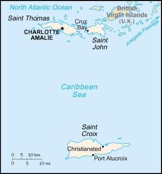 United States Virgin Islands St John St Thomas St Croix maps