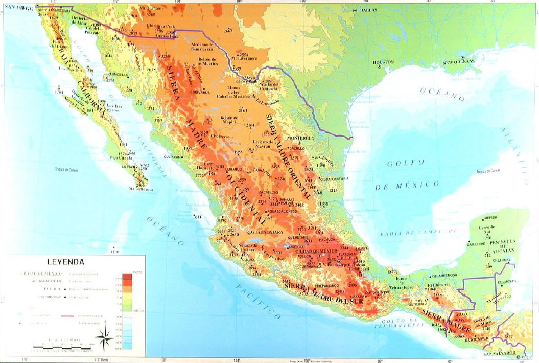 Mexico topographical and political maps