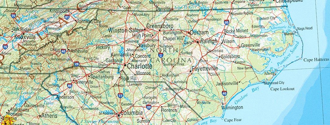 North Carolina Map - North carolina map usa