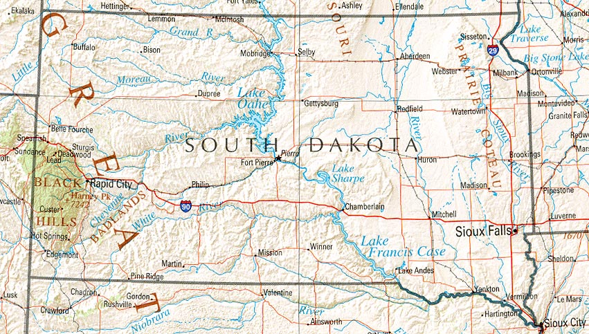 South Dakota map
