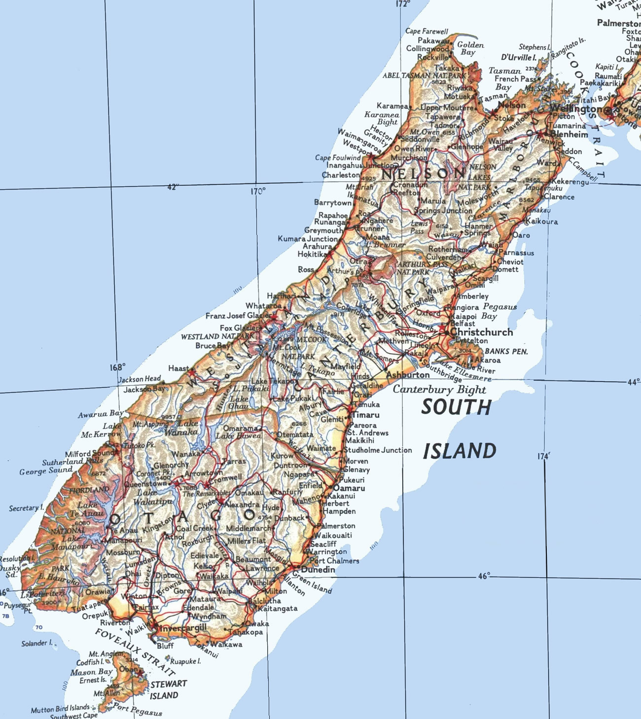Road Map Of New Zealand South Island.Map Of New Zealand North Island Journey Times Planetware