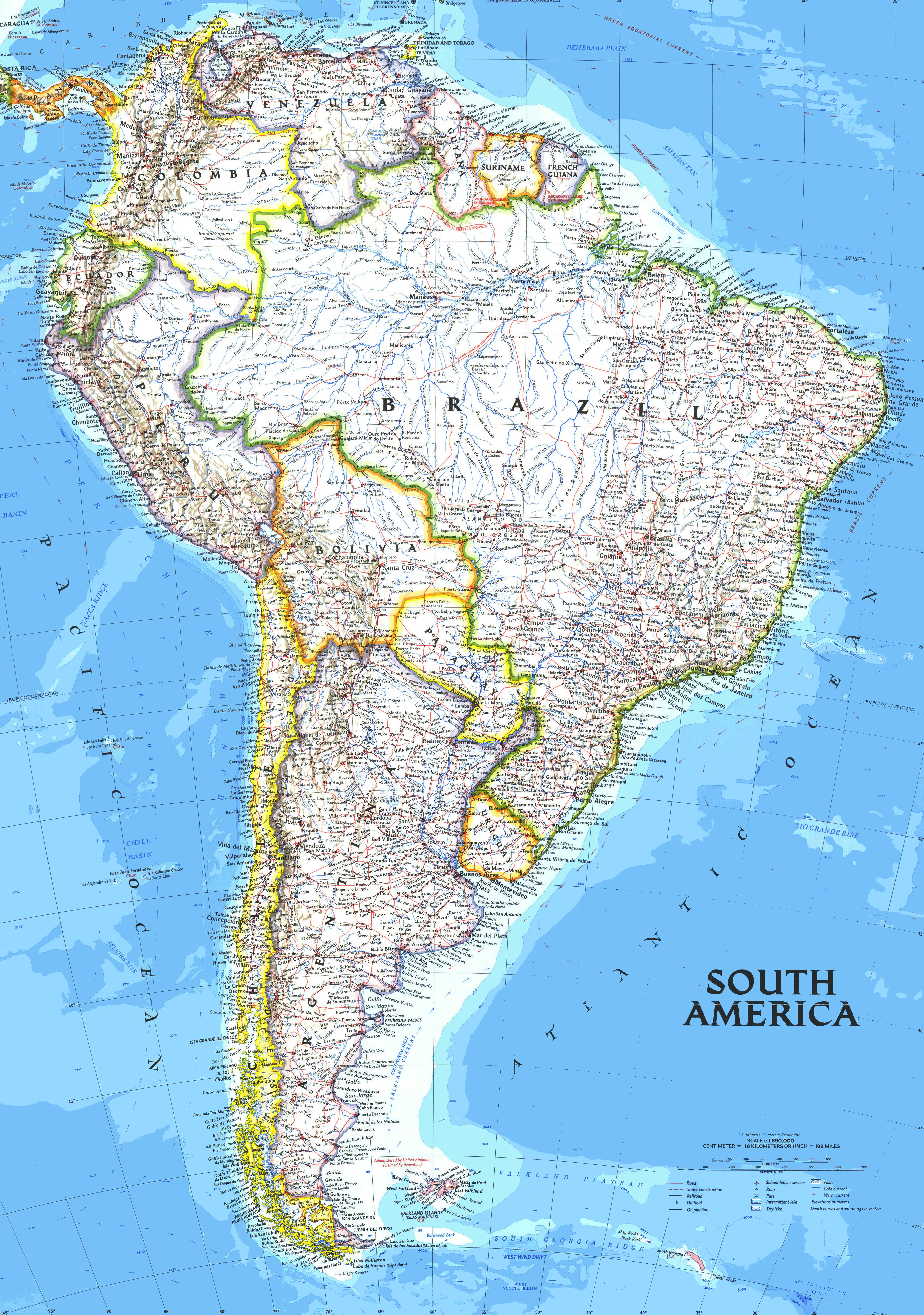 Maps Of South America - South america argentina map